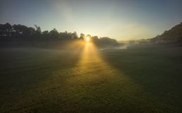 Sunrise on the green. At Dalat golfcourse, Vietnam Stock Images