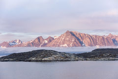 Sunrise Greenlandic Rocks Royalty Free Stock Photography