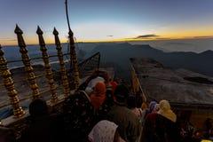 Sunrise greeted pilgrims on the holy mount Adams Peak Royalty Free Stock Photography