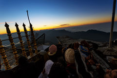 Sunrise greeted pilgrims on the holy mount Adams Peak Stock Photos