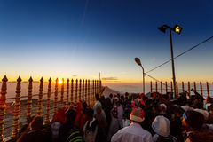 Sunrise greeted pilgrims on the holy mount Adams Peak Royalty Free Stock Image