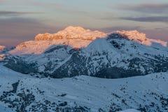 Sunrise in Gruppo di Sella Dolomiti Royalty Free Stock Photography
