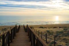 Sunrise on Guardamar beach Royalty Free Stock Images