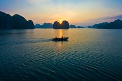 Sunrise at Ha Long Bay Royalty Free Stock Image