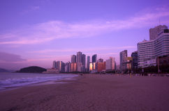 Sunrise at Haeundae beach Busan Stock Image