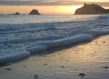 Sunrise at Hahei. Te tare Point.  Sunrise at Hahei beach,  Corromadel peninsula. North island new zealand Stock Photo