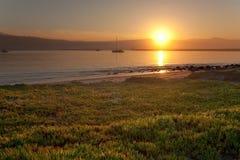 Sunrise at Half Moon Bay. Calm sunrise at Pillar Point Harbor, Half Moon Bay, California Stock Images