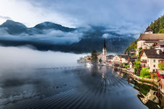 Sunrise in Hallstatt Stock Images