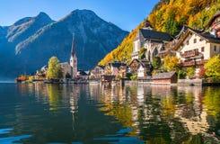 Sunrise in Hallstatt mountain village with Hallstatter See in fall, Austria royalty free stock image