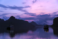 Sunrise in Halong Bay,  Vietnam Royalty Free Stock Photo