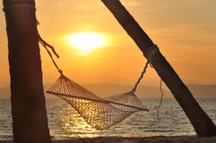 Sunrise with hammock and coconut palm trees on tropical beach background Royalty Free Stock Photo