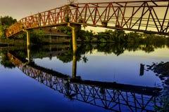 Sunrise Hanging Bridge Royalty Free Stock Photography