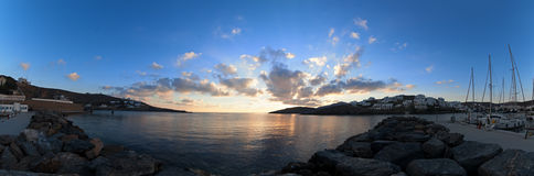 Sunrise in harbor of greek island Kythnos Stock Photos