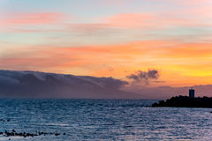 Sunrise at the Harbor of Hermanus stock images