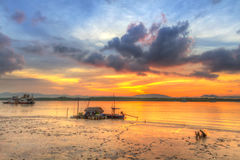 Sunrise at the harbor of Koh Kho Khao island Royalty Free Stock Photography