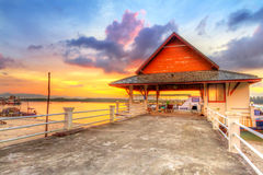 Sunrise at the harbor of Koh Kho Khao island Stock Images