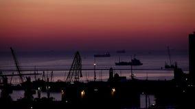 Sunrise in the harbor of Odessa, Ukraine stock footage