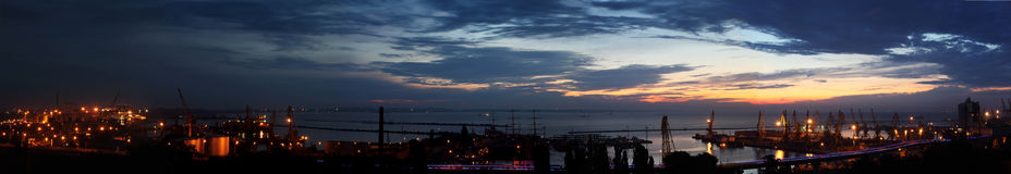 Sunrise in the harbor of Odessa, Ukraine panorama Royalty Free Stock Images