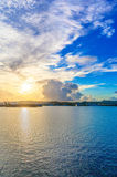 Sunrise at the harbor Stock Photography