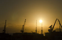 Sunrise in the harbor of Palermo Royalty Free Stock Image