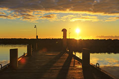 Sunrise in the harbor Spodsbjerg Stock Image