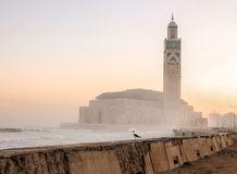 Sunrise at Hassan II Mosque - Casablanca, Morocco stock photography