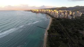 Sunrise high above Waikiki Beach in Oahu, Hawaii, United States stock footage