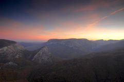 Sunrise in high mountains Stock Photos