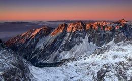 Sunrise in High Tatras - Slovakia. Photo from mountain - Rysy stock image