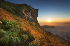 The sunrise of highest point of The northern Mountain of Thailand. Royalty Free Stock Photography