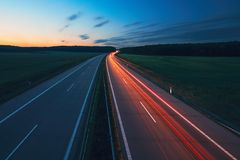 Sunrise on the highway Royalty Free Stock Photos