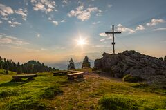 Free Sunrise Hike At Immenstadt In Allgau To The Summit Of Mittag Stock Photos - 176446683