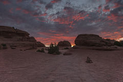 Sunrise hike to Delecate Arch. In Arches National Park, Moab, Utah, United States of America Stock Photography