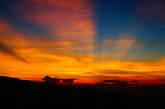 Sunrise on the hill. In indonesia Royalty Free Stock Images