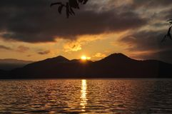 Sunrise from  the hill beside the lake. Sunrise from  the hill beside the Lugu lake Royalty Free Stock Images