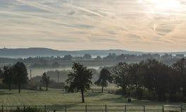 Sunrise in the hills of belgium stock photos