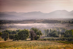 Sunrise on the hills of Bevagna, Umbria Royalty Free Stock Photography