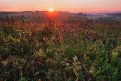 Sunrise in hills in Russia Stock Photo