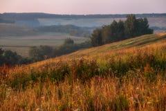 Sunrise in hills in Russia Stock Image