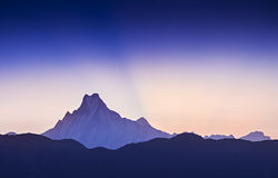 Sunrise in Himalaya. Beautiful sunrise in Himalaya mountains royalty free stock photos