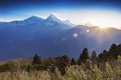 Sunrise in Himalaya. Beautiful sunrise in Himalaya mountains stock images