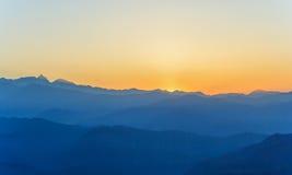 Sunrise at Himalaya range. View of Himalaya range view from Nagarkot village,Nepal stock photo