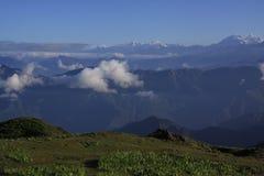 Sunrise in Himalaya. Trekking in majestic Himalaya mountains stock images