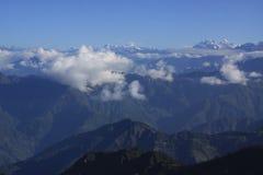 Sunrise in Himalaya. Trekking in majestic Himalaya mountains. Kanchendzonga mount on the right royalty free stock photos