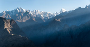 Sunrise Himalayas. Sunrise in the Himalayas, the first rays of the sun -  view from Auli, India Stock Photos