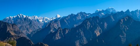 Sunrise in the Himalayas. The first rays of the sun -  view from Auli, India Royalty Free Stock Images