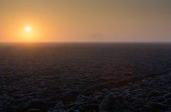Sunrise with hoarfrost Royalty Free Stock Image
