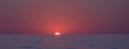 Sunrise horizon panorama. Dolphin watch sunrise tour, Cala Ratjada, Mallorca, Balearic islands, Spain in July Stock Photo