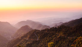 Sunrise at horizon of sky. At Chiang Mai, Thailand Royalty Free Stock Images