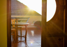 Sunrise at hotel room Royalty Free Stock Photo